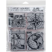 "Tim Holtz Cling Stamps 7""X8.5""-Travel Blueprint"