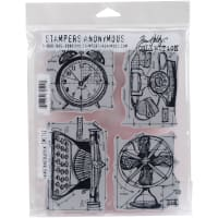 """Tim Holtz Cling Stamps 7""""X8.5""""-Vintage Things Blueprint"""