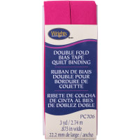 """Wrights Double Fold Quilt Binding .875""""X3yd-Hot Magenta"""