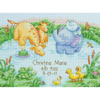 """Dimensions Counted Cross Stitch Kit 12""""X9""""-Little Pond Birth Record (14 Count)"""