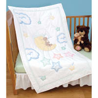 "Jack Dempsey Stamped White Quilt Crib Top 40""X60""-Bear On The Moon"