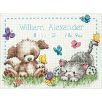 """Dimensions Counted Cross Stitch Kit 12""""X9""""-Pet Friends Birth Record (14 Count)"""