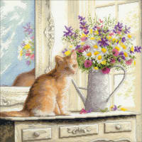 """Dimensions Counted Cross Stitch Kit 12""""X12""""-Kitten In The Window (18 Count)"""