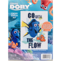 """Dimensions/Finding Dory Counted Cross Stitch Kit 5""""X7""""-Go With The Flow (14 Count)"""