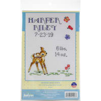 """Janlynn Counted Cross Stitch Kit 5""""X7""""-Baby Deer Sampler (14 Count)"""