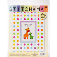 """Design Works Stitch & Mat Counted Cross Stitch Kit 3""""X4.5""""-Baby (18 Count)"""