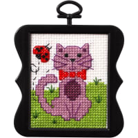 "Bucilla/Beginner Minis Counted Cross Stitch Kit 3"" Scallop-Kitty (14 count)"