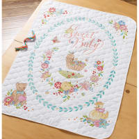 "Bucilla Stamped Cross Stitch Crib Cover Kit 34""X43""-Sweet Baby"
