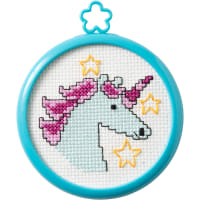 "Bucilla/My 1st Stitch Mini Counted Cross Stitch Kit 3"" Frame-Mystical Unicorn (14 Count)"