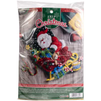 "Bucilla Felt Stocking Applique Kit 18"" Long-Santa's Sleigh"