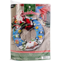 "Bucilla Felt Wreath Applique Kit 13.5"" Round-Airplane Santa"