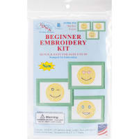 """Jack Dempsey Stamped Embroidery Kit Samplers 6""""X8"""" 3/Pkg-Smiling Faces"""