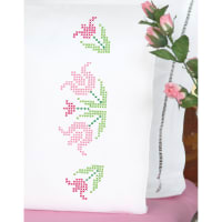 Jack Dempsey Stamped Pillowcases W/White Perle Edge 2/Pkg-XX Lace Tulips