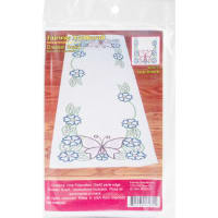 """Fairway Stamped Perle Edge Dresser Scarf 15""""X42""""-Large Butterfly"""