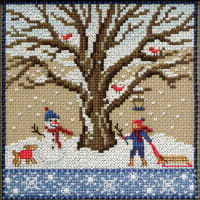 """Mill Hill Counted Cross Stitch Kit 5.25""""X5.25""""-Winter Oak (14 Count)"""
