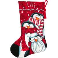 "Dimensions Stocking Needlepoint Kit 16"" Long-Holiday Penguin Trio Stitched In Wool"