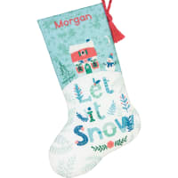 """Dimensions Stocking Cross Stitch Kit 16"""" Long-Holiday Home Stitched In Wool"""