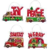 """Dimensions Plastic Canvas Ornament Kit 4/Pkg-Holiday Trucks Up To 5""""X4"""" (14 Count)"""