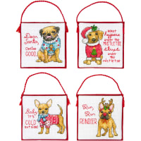 Dimensions Counted Cross Stitch Ornament Kit Set of 4-Christmas Pups Ornaments (14 Count)