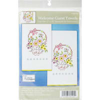 "Tobin Stamped For Embroidery Kitchen Towels 18""X28"" 2/Pkg-Welcome Guest"