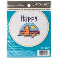 """Dimensions Mini Counted Cross Stitch Kit 4""""-Happy Camper (14 Count)"""