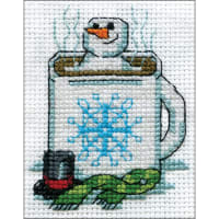"""Design Works Counted Cross Stitch Kit 2""""X3""""-Cocoa Snowman (14 Count)"""