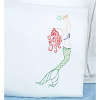 Jack Dempsey Stamped Pillowcases W/White Perle Edge 2/Pkg-Mermaid