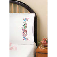 "Tobin Stamped For Embroidery Pillowcase Pair 20""X30""-Owls"