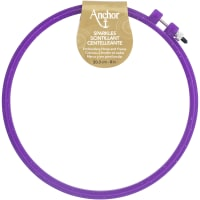 """Anchor Sparkle Plastic Embroidery Hoop Assorted Colors-8"""" Diameter Blue, Purple Or Yellow"""