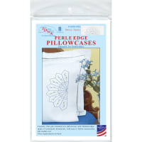 Jack Dempsey Stamped Pillowcases W/White Perle Edge 2/Pkg-Daisy Spray