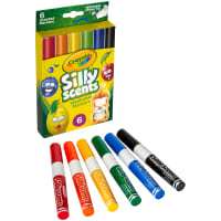 Crayola Silly Scents Wedge Tip Washable Markers-Assorted Colors 6/Pkg