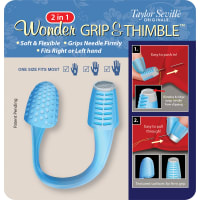 Taylor Seville 2-In-1 Wonder Grip & Thimble-White & Blue