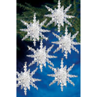 """Holiday Beaded Ornament Kit-Snow Clusters 3.5"""" Makes 12"""