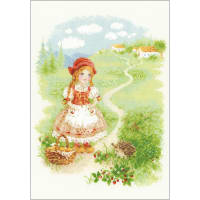 """RIOLIS Counted Cross Stitch Kit 8.25""""X11.75""""-Little Red Riding Hood (18 Count)"""