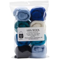 "Wistyria Editions Wool Roving 12"" .25oz 8/Pkg-The Sea"