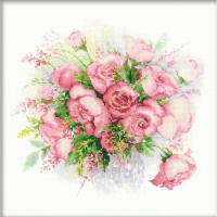 """RIOLIS Counted Cross Stitch Kit 11.75""""X11.75""""-Watercolor Roses (14 Count)"""