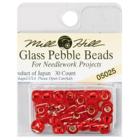 Mill Hill Glass Pebble Beads 5.5mm 30/Pkg-Ruby