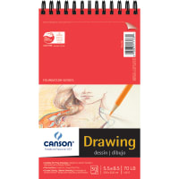 """Canson Foundation Series Spiral Drawing Paper Pad 5.5""""X8.5""""-30 Sheets"""