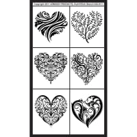 "Rub 'N' Etch Designer Stencil 5""X8""-Fancy Hearts"