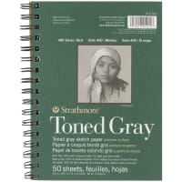 "Strathmore Toned Sketch Spiral Paper Pad 5.5""X8.5""-Gray 50 Sheets"