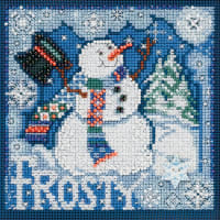 """Mill Hill Buttons & Beads Counted Cross Stitch Kit 5""""X5""""-Frosty Snowman Winter (14 Count)"""