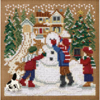 """Mill Hill Buttons & Beads Counted Cross Stitch Kit 5""""X5""""-Snow Day Winter (14 Count)"""