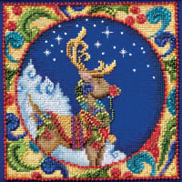 """Mill Hill/Jim Shore Counted Cross Stitch Kit 5""""X5""""-Reindeer (18 Count)"""