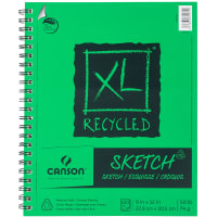 """Canson XL Recycled Side Spiral Sketch Paper Pad 9""""X12""""-100 Sheets"""