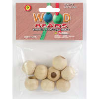 Round Wood Beads 20mm 8/Pkg-Natural