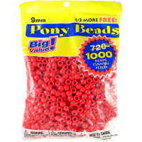 Pony Beads 6mmX9mm 1,000/Pkg-Opaque Red