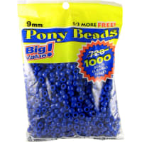 Pony Beads 6mmX9mm 1,000/Pkg-Opaque Blue
