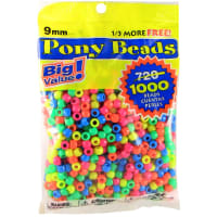 Pony Beads 6mmX9mm 1,000/Pkg-Opaque Neon