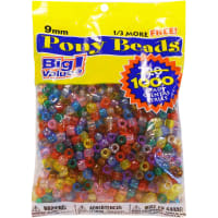 Pony Beads 6mmX9mm 1,000/Pkg-Transparent Multicolor