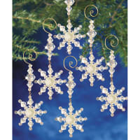 """Holiday Beaded Ornament Kit-Snow Crystal Danglers 4""""X2"""" Makes 8"""